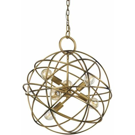 Gold pendant lamp Orbit 6 bulbs