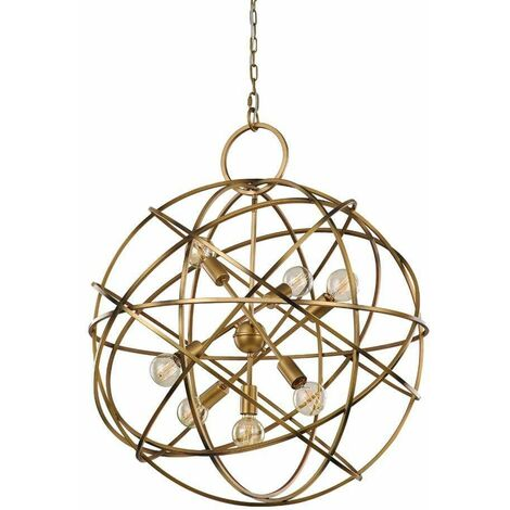 Gold pendant light Orbit 7 bulbs