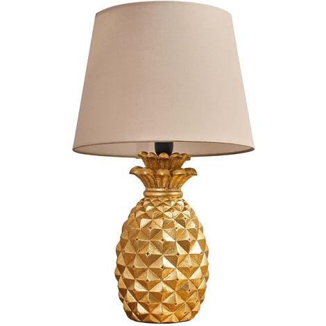 Gold Pineapple Base Table Lamp Reading Light Lamphades LED Bulb - Beige - Gold