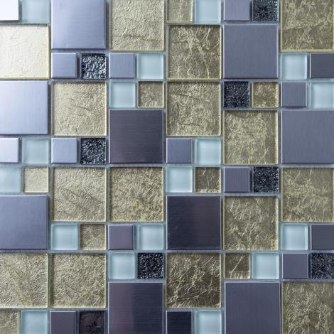 Gold & Silver Foil Glass & Brushed Stainless Steel Mosaic Tiles MT0166