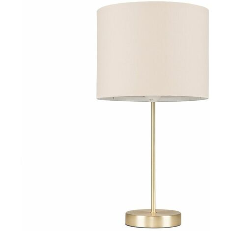 Gold Table Lamp Light Fabric Shades LED Bulb Lighting - Beige LED - Gold