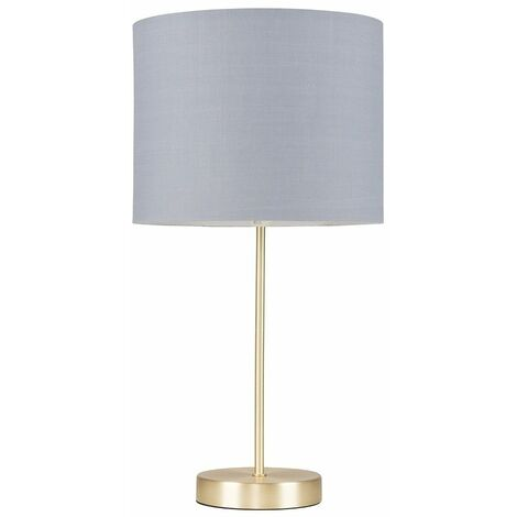 Gold Table Lamp Light Fabric Shades LED Bulb Lighting - Grey LED