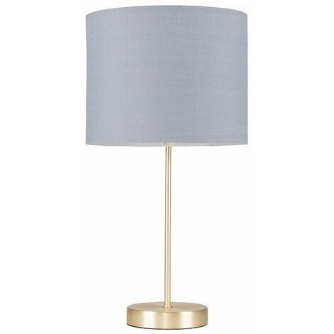 Gold Table Lamp Light Fabric Shades LED Bulb Lighting - Grey LED - Gold