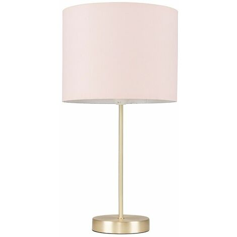 Gold Table Lamp Light Fabric Shades LED Bulb Lighting - Pink LED - Gold