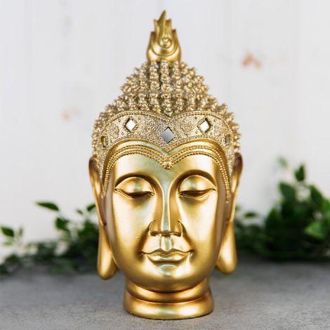 Gold Thai Buddha Head Figurine 24.5cm