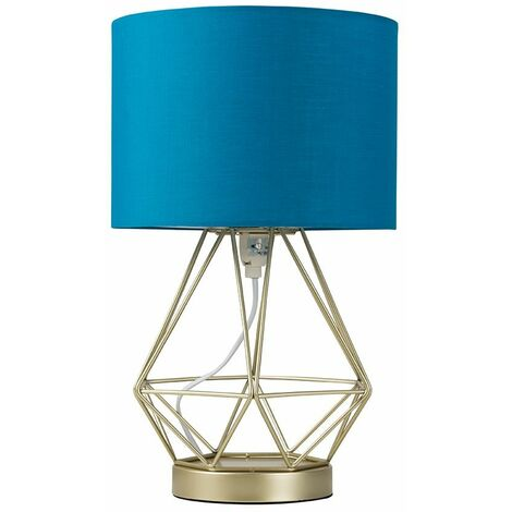 Gold Touch Table Lamp + French Blue Shade - LED Bulb - Gold
