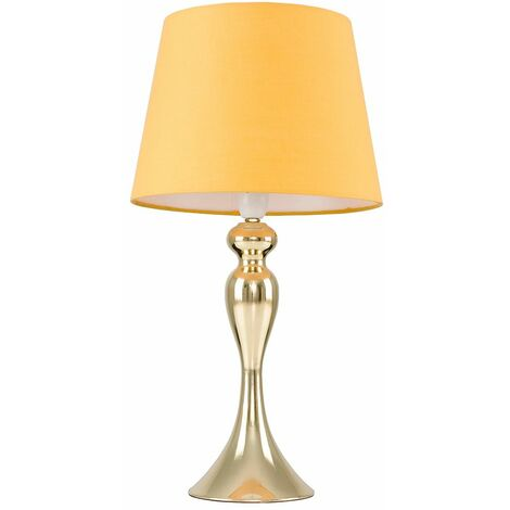 Gold Touch Table Lamp Light Spindle Lampshades Dimmable - Gold