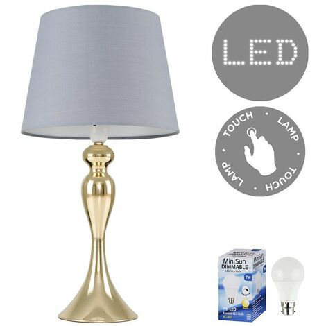 Gold Touch Table Lamp Light Spindle Lampshades LED Dimmable Bulb - Gold