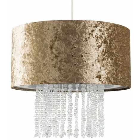 Gold Velvet Ceiling Pendant Light Shade With Clear Acrylic Droplets + 10W LED Bulb Warm White - Gold