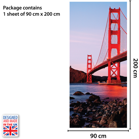 Golden Gate Bridge Self-Adhesive Door Mural Sticker For All Europe Size 90Cm X 200Cm