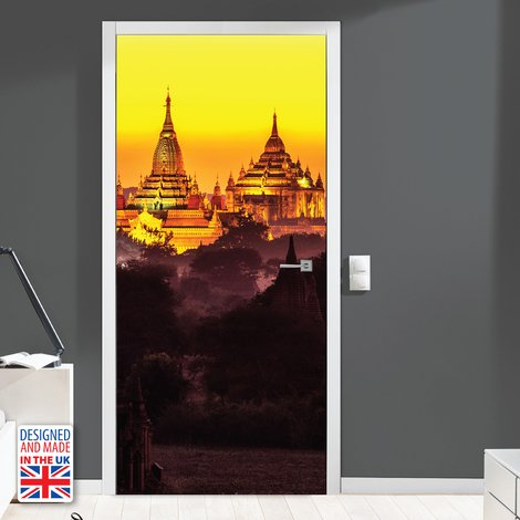 Golden Temple Self-Adhesive Door Mural Sticker For All Europe Size 90Cm X 200Cm
