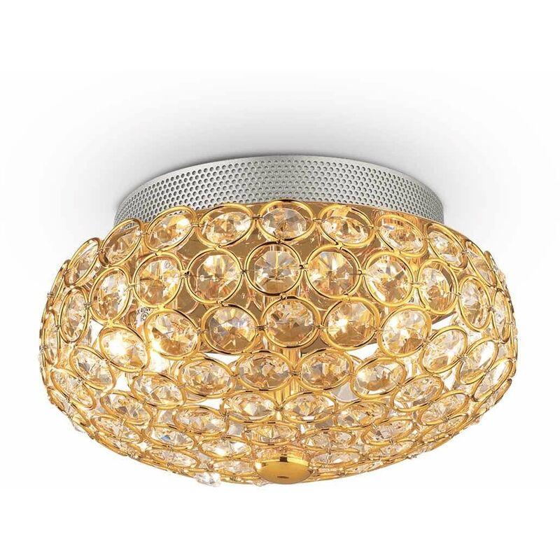 Goldene Deckenleuchte aus Kristall KING 3 Glühbirnen