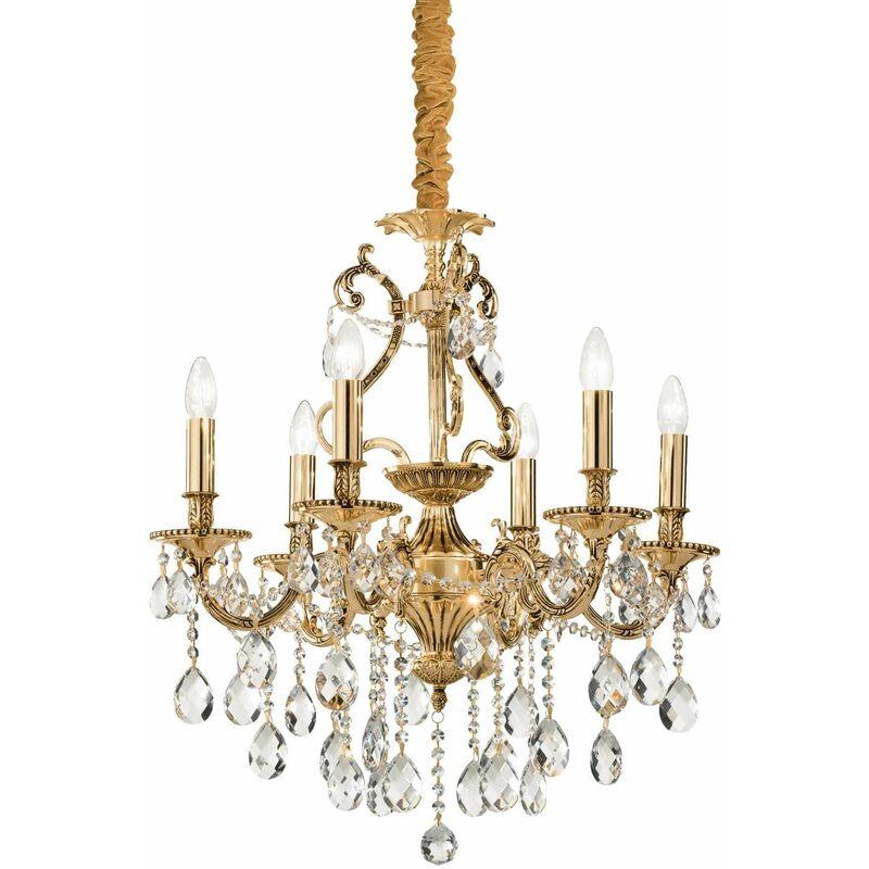 Goldene Pendelleuchte aus GIOCONDA Kristall 6 Glühbirnen