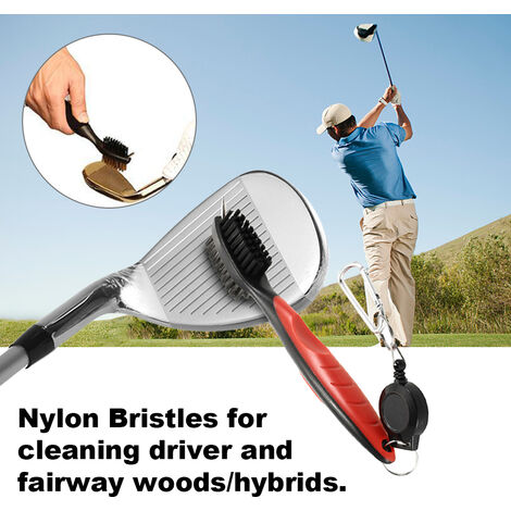 """main image of """"Golf Club Brush and Groove Cleaner Dual Sided Nylon & Steel Brush With Spike for Cleaning Club Face & Groove With Loop Clip (Carabiner) For Easy Hanging on Golf Bag Ergonomic Design,model:Red"""""""