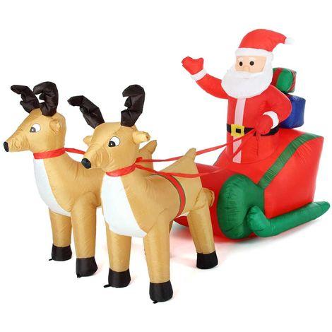 Decorazioni Natalizie Gonfiabili.Gonfiabile Babbo Natale Su Slitta Con Renne Luci A Led 240x137cm