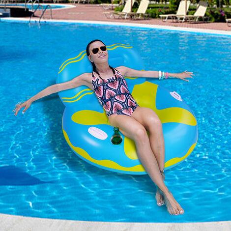Gonflable Canapé d'eau Swimtrainer Piscine Bouée Gonflable Bouée Gonflable Cercle Chaise pour Adultes Bébé Flotteur(bleu)
