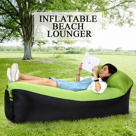 Gonflables Lounger Portable Air Lits De Couchage Canape-Lit Pour Travelling Camping Plage Arriere, Vert