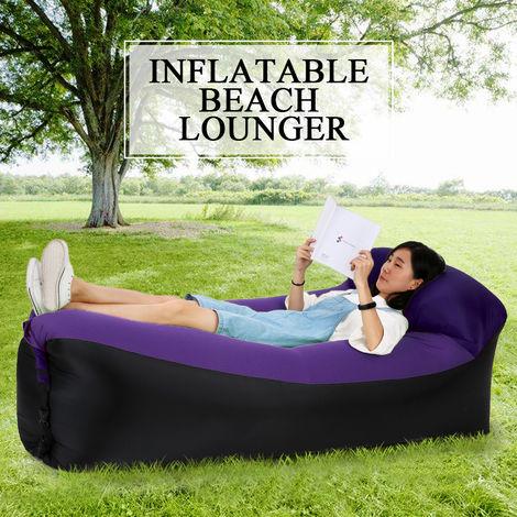 Gonflables Lounger Portable Air Lits De Couchage Canape-Lit Pour Travelling Camping Plage Arriere, Violet