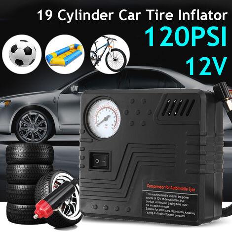 Gonfleur de pneu de compresseur d'air de pompe de pneu de voiture 12V 120PSI adapté pour les voitures / camions / vélo / berline / SUV / moteur / anneaux de natation