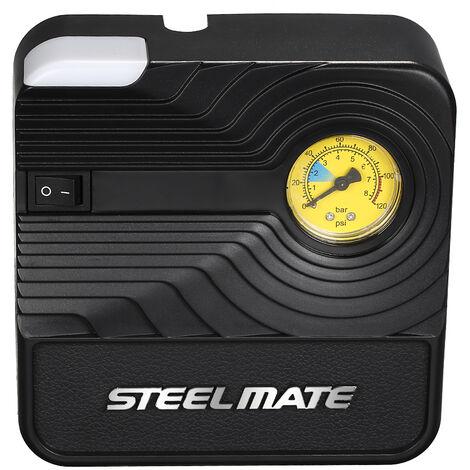 Gonfleur de pneu de pompe de compresseur d'air portatif des vehicules a moteur de Steelmate 12V DC pour les gonflables de boule de bicyclette de voiture, modele : noir 90