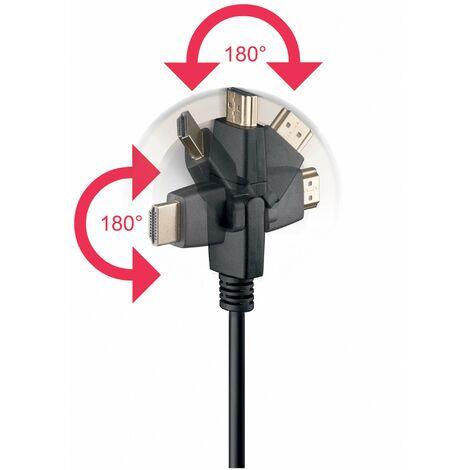 Goobay 1.5m HDMI G-360° HDMI Type A (Standard) HDMI Type A (Standard) Negro cable HDMI - Cables HDMI (1,5 m, HDMI Type A (Standard), HDMI Type A (Standard), Negro)