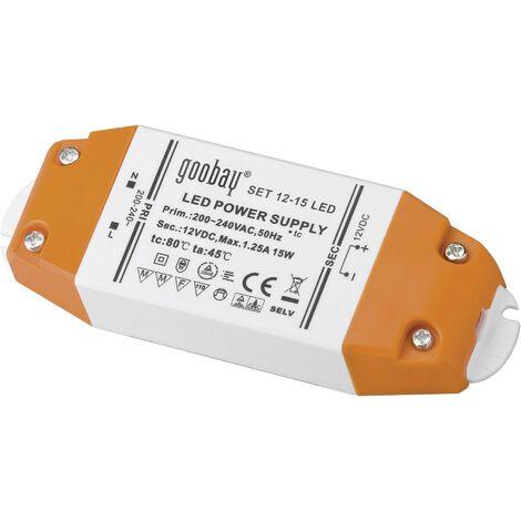 Goobay SET 12-15 LED LED-Trafo Konstantspannung 15W 1.25A 12 V/DC Möbelzulassung Y89202