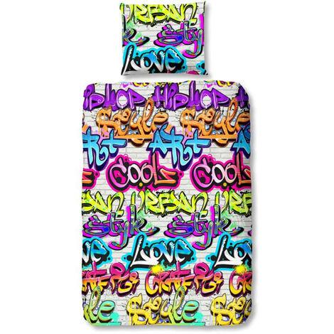 """Good Morning Kids Duvet Cover """"Graffiti"""" 140x200/220 cm"""