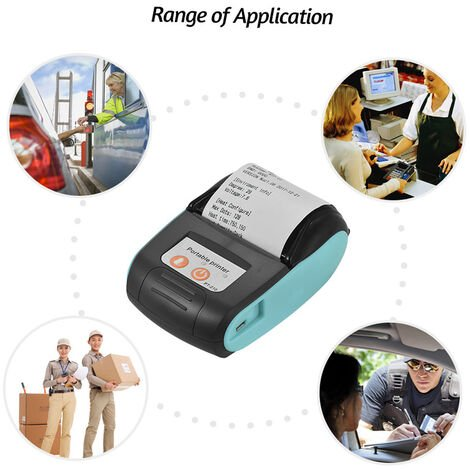 GOOJPRT, Impresora termica, Impresora de recibos de 58 mm, 10 rollos de papel, Azul