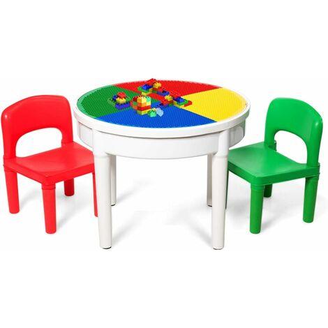 """main image of """"GOPLUS 3 en 1 Ensemble Table de Bloc, Table d'Artisanat, Table Ronde de Jeu Comprenant 2 Chaises et 300 Petits Blocs, Table Multi-activités de Jeu Parfait Cadeau pour Enfant, Multicolore"""""""