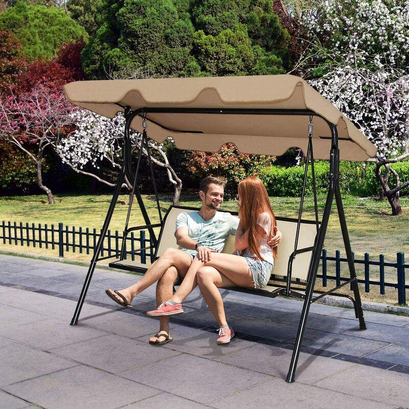 Balancelle de Jardin 3 Places, Balançoire d'Extérieur avec Grand Auvent, Inclinaison Coussins Assise et Dossier Mince, Tissu de Teslin et Polyester,