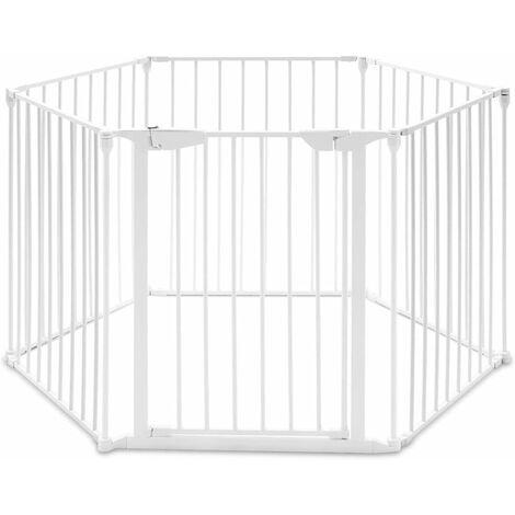 GOPLUS Barrière de Sécurité Enfant Bébé Animal, Grill de Protection de Cheminée en Fer, Clôture de Securité Escaliers, 5 Barreaux avec 1 Porte, 380X75CM (Blanche)