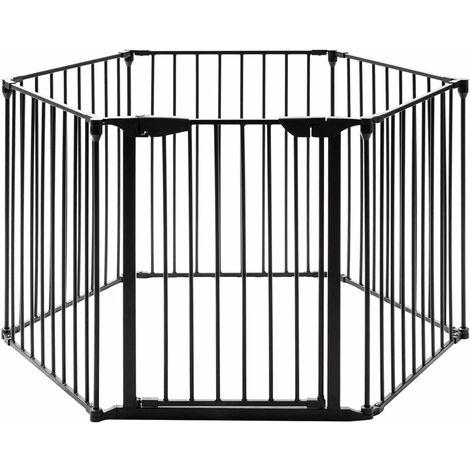 GOPLUS Barrière de Sécurité Enfant Bébé Animal, Grill de Protection de Cheminée en Fer, Clôture de Securité Escaliers, 5 Barreaux avec 1 Porte, 380X75CM (Noir)