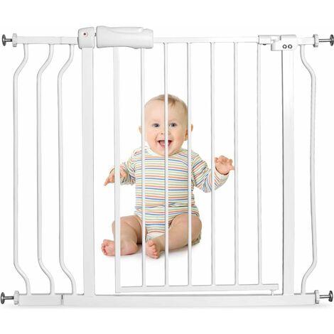 GOPLUS Barrière de Sécurité sans Perçage, Barrière d'Escalier, Portes d'Escalier Extensible de 74 à 98CM Protection d'Enfant, Montage sous Pression sans Outils, Verrouillable, Blanc