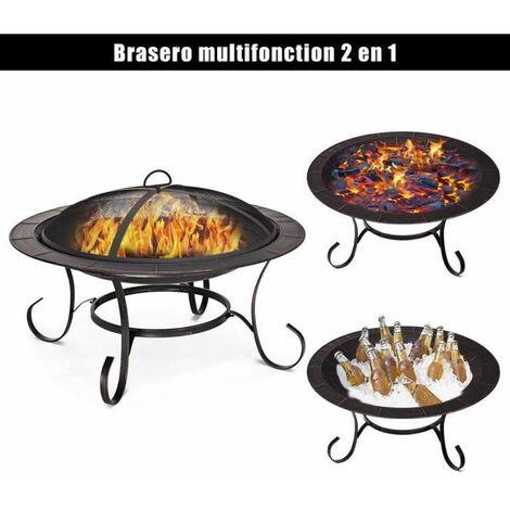 GOPLUS Brasero Extérieur en Métal avec Poker et Couvercle de Protection, Foyer de Chauffage/Barbecue pour Jardin avec Grille de Fer