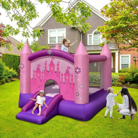 GOPLUS Château Gonflable, Aire de Jeux pour Enfant avec Zone de Saut et Toboggan de Style Princess Jusqu'à 90KG 2 Enfants de 3 à 10 Ans(Pompe Aire Incluse)