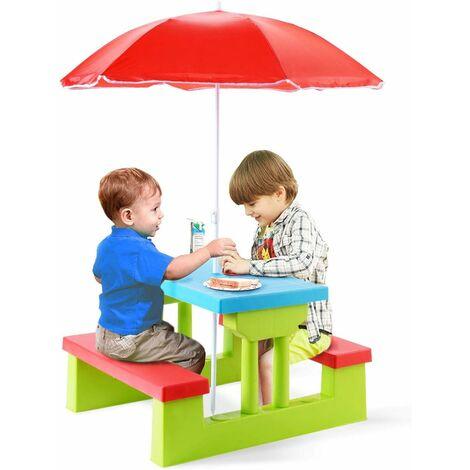 GOPLUS Ensemble de Jardin pour Enfant, Ensemble Table de Pique-Nique et Banc avec Parasol d' Activité Extérieur, Jeu de Plein Air,Multicolore (Bleu+Rrouge+Vert)