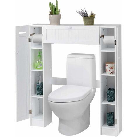 Goplus Etagère Dessus Toilette, Meuble de Salle de Bains, 4 Casiers des Deux Côtés, Support pour Porte Papier Toilette, 87 X18X98CM, Blanche