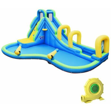 """main image of """"GOPLUS Jeux de Piscine Ch?teau Gonflable Imperméable avec Toboggan et Filet de Protecteur,Aire de Jeux Gonflable avec souffleur"""""""