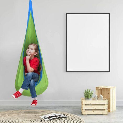 GOPLUS Nid d'Oiseau Hamac Enfant avec Coussin d'Air Chaise Suspendu pour Enfant 70x160cm Bleu/Vert/Rose Charge Max 82kg (Vert)