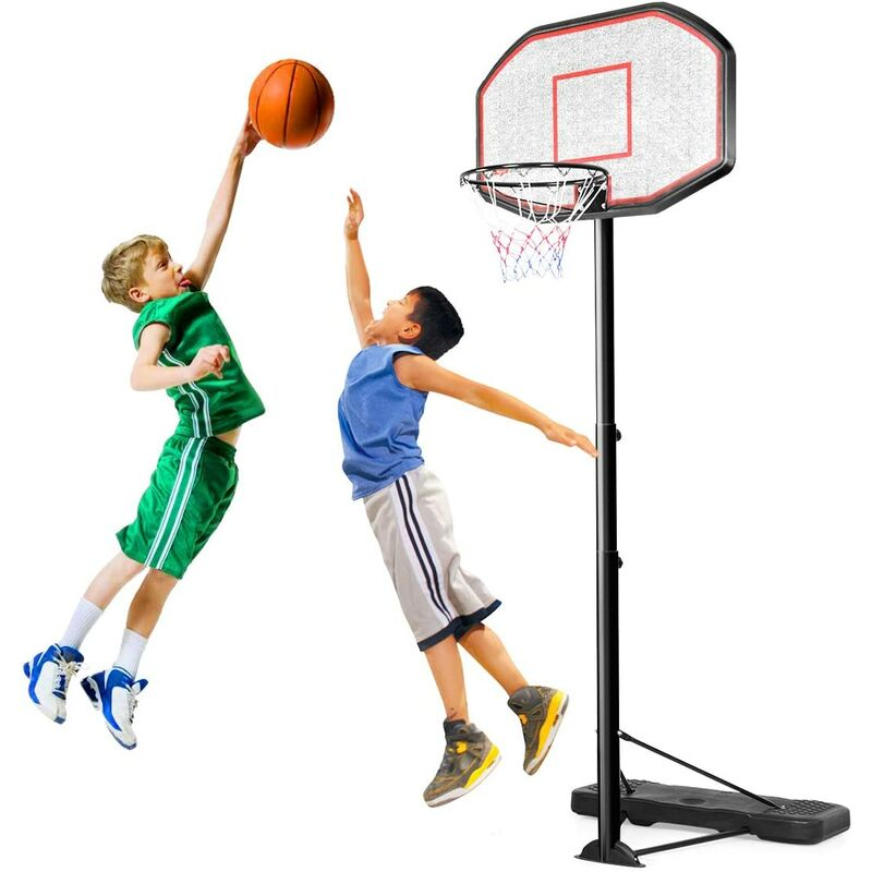 GOPLUS Panier de Basket à Hauteur Réglable Panneau de Basket Mobile Kit de Basket-Ball Mobile sur Pied PE et Acier