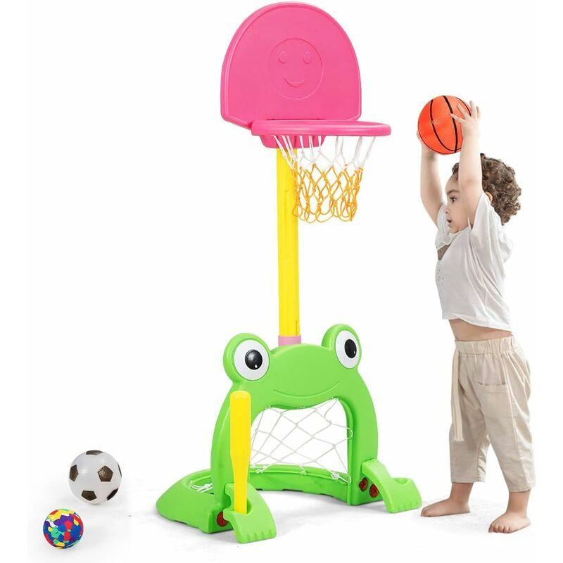 GOPLUS Panier de Basketball pour Enfants 3 en 1 Réglable en Hauteur, Support de Panier de Basket Multifonctionnel avec Base Remplissable pour