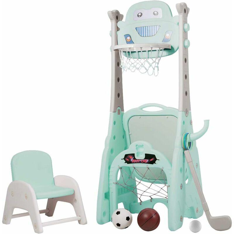 GOPLUS Panier de Basketball pour Enfants 6 en 1 Réglable en Hauteur avec Chaise, Support de Panier de Basket Multifonctionnel avec Accessoires
