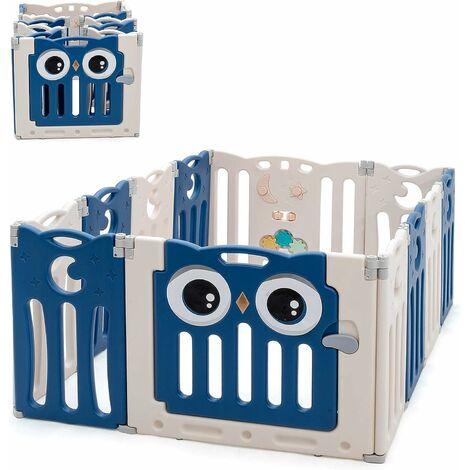 GOPLUS Parc Bébé 12 Pcs en Plastique Pliable et Écologique avec Motif de Hibou et Panneau de Jeu, Parc pour Enfant avec Porte et Serrure de Sécurité, Convient aux Bébés Moins de 3 Mois à 6 Ans (Bleu)