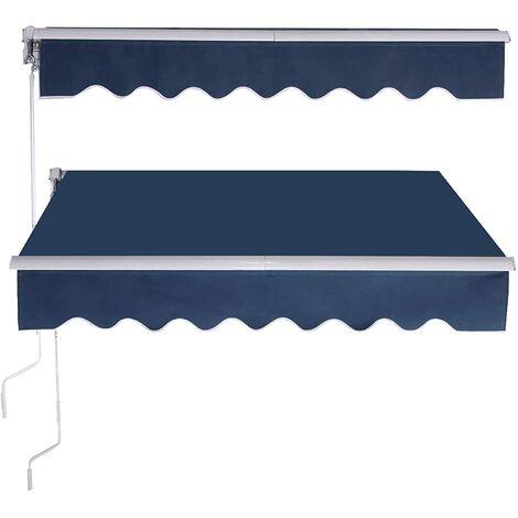 GOPLUS Store Banne Auvent Manuel Rétractable avec Manivelle en Aluminium et Polyester, Imperméable, Résistant aux UV, pour Terrasse, Bistro, Balcon, Imperméable,300X250CM (Bleu)