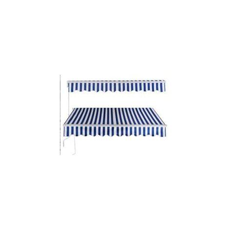GOPLUS Store Banne Auvent Manuel Rétractable avec Manivelle en Aluminium et Polyester, Imperméable, Résistant aux UV, pour Terrasse, Bistro, Balcon, Imperméable,300X250CM (Bleu-Blanc)