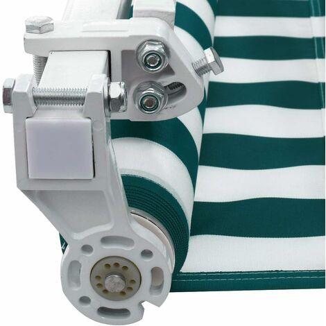 GOPLUS Store Banne Auvent3x2.5M Manuel Rétractable Imperméable et Résistant aux UV avec Manivelle,pour Terrasse,Bistro,Vert et blanc