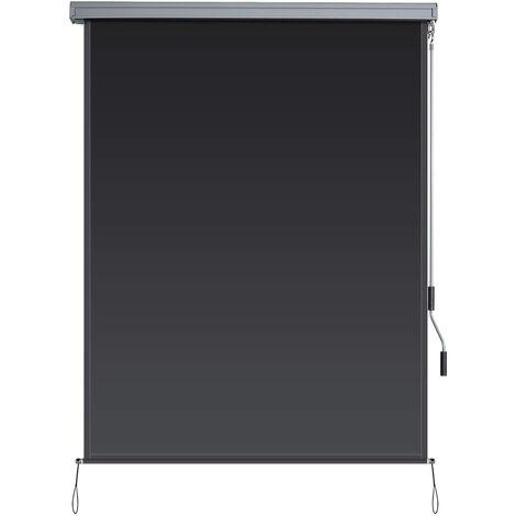 GOPLUS Store en Polyester Bloquer Lumière avec Bascule, Store Occultant Conception Ergonomique Résiste à l'eau, Store Enrouleur à l'Intérieur et l'Extérieur, Kit de Montage Inclus (1,6m, Gris)