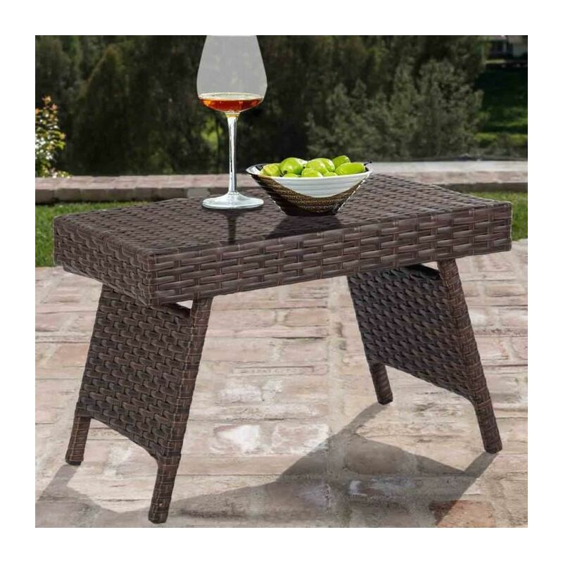 Table Basse en Rotin Tressé Pliable avec Cadre en Métal,Idéal pour Salon,Jardin, Terrasse,60 X 40 X 40CM,Charge Max 50 KG - Goplus