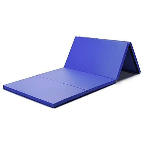 GOPLUS Tapis Gymnastique Pliable pour Yoga, Matelas Confort Résistant pour Pilates Fitness Dance Sports de Combat en Cuir Synthétique avec Poignée Portable et Bande Velcro de Côté,240X117X5CM,Bleu