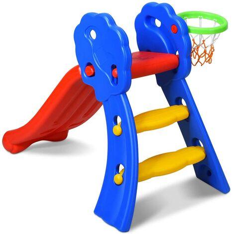 GOPLUS Toboggan Aire de Jeux pour Enfants/ Aire de Jeux avec Panier de Basket/ Toboggan Extérieur et à l'Intérieur/ pour Enfants 3-8 Ans/108 x 68 x 71,5CM